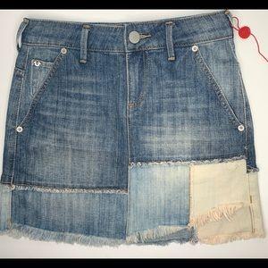 True Religion Patch Denim Mini Skirt NWOT Size XS